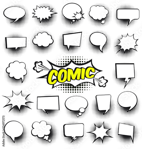 Set of Cartoon, Empty dialog clouds with halftone dot background in pop art style. Vector illustration for comic book, social media banners, promotional materials.