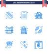 Blue Pack of 9 USA Independence Day Symbols of american; usa; usa; handbag; cityscape