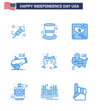 Happy Independence Day USA Pack Of 9 Creative Blues Of Wine; Mortar; American; Howitzer; Big Gun