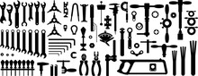 Bicycle Tools For The Workshop. Silhouettes, Seamless Background