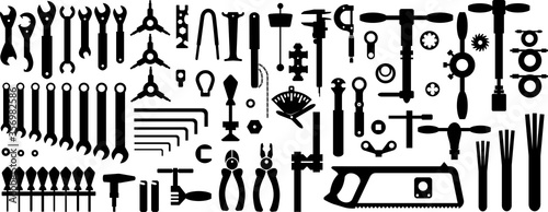 Bicycle tools for the workshop. Silhouettes, seamless background Canvas Print