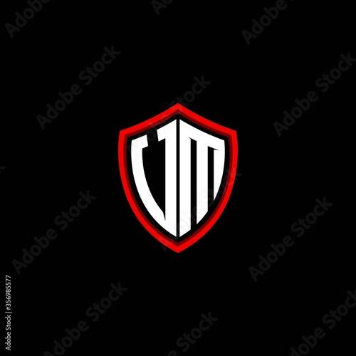 Photo UM initials shield logo monogram designs modern templates.