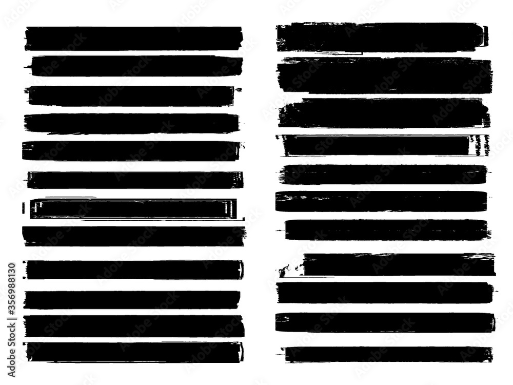 Fototapeta Grunge Paint Roller . Vector brush Stroke . Distressed banner . Black stripes isolated. paintbrush collection . Modern Textured shape . Dry border in Black . Bulge lines