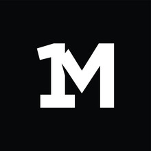 Initial Letter And Number Logo, M And 1, M1, 1M, Black Negative Space
