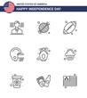 Big Pack of 9 USA Happy Independence Day USA Vector Lines and Editable Symbols of fries; chips; ball; helmet; american