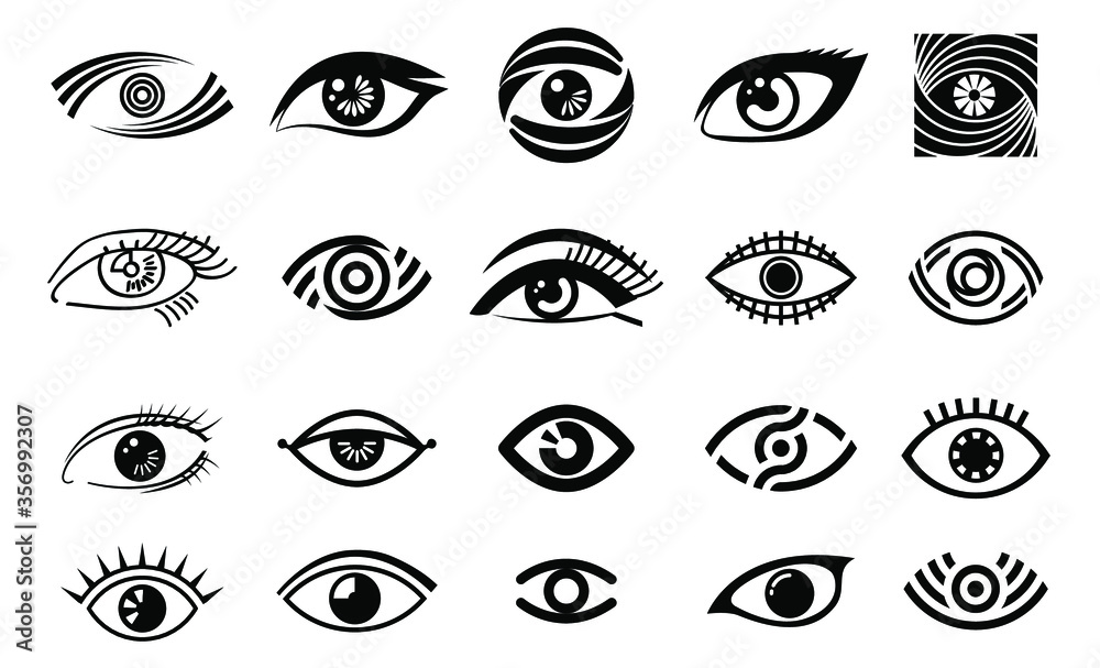 Fototapeta vector eye illustration, logo set, collection of different style eye, vision logotype in black color, black outline eyes, woman eye,isolated on white background, make up, beauty saloon,