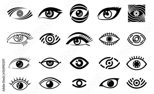 Foto eye illustration, logo set, collection of different style eye, vision logotype
