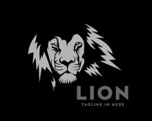 Elegance Face Lion Logo Design Illustration In Black Background