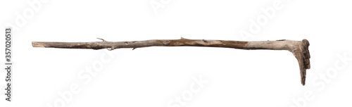 Tela ancient shepherd wooden stick isolated on white background