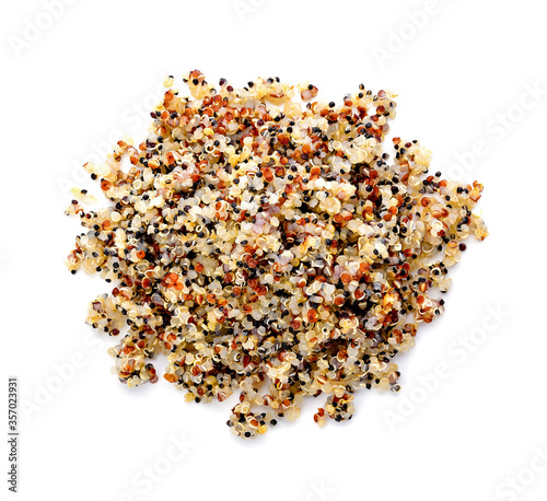 Fototapety, obrazy: Healthy colorful cooked quinoa isolated on white. top view