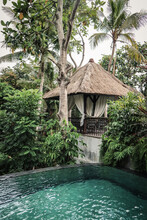 Swimming Pool Near Traditional Balinese Cozy Gazebo