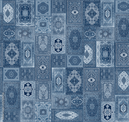 Tablou Canvas seamless traditional design pattern with denim color