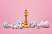 3d Rendering Of White Chess Pieces Lying Around Golden Chess King On Pink Background