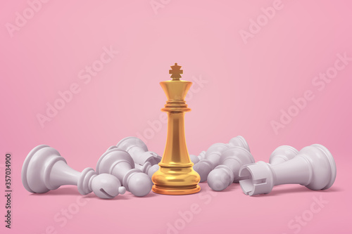 Obraz na plátně 3d rendering of white chess pieces lying around golden chess king on pink backgr