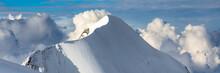 Mont Blanc Mountain, White Mountain. View From Aiguille Du Midi Mount.