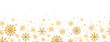 Golden Snowflakes Frame On White Background. Gold Falling Snowflakes With Different Ornaments. Luxury Glitter Christmas Garland. Winter Ornament For Packaging, Cards, Invitations. Vector Illustration