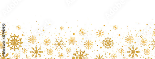 Obraz Golden snowflakes frame on white background. Gold falling snowflakes with different ornaments. Luxury glitter Christmas garland. Winter ornament for packaging, cards, invitations. Vector illustration - fototapety do salonu