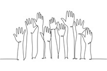 One Single Line Drawing Of Group Of People Open Up And Raising Their Hands Up Into The Air. Business Team Work Concept. Modern Continuous Line Draw Design Graphic Vector Illustration
