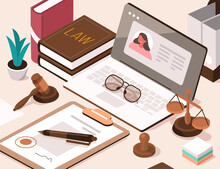 Lawyer Office Workplace With Laptop, Signed Legal Contract, Judge Gavel, Scales Of Justice And Legal Books. Online Legal Advice. Law And Justice Concept. Flat Isometric Vector Illustration.
