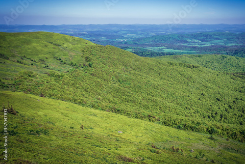 Aerial view from hiking trail to Halicz mountain top in Bieszczady mountain range in Poland #357047931