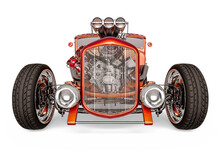 Hotrod With No Brand In White Background Front View
