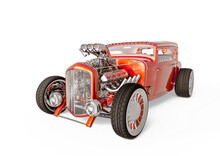 Hotrod With No Brand In White Background