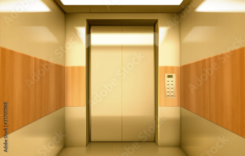 Photo Empty golden elevator cabin with closed doors inside view