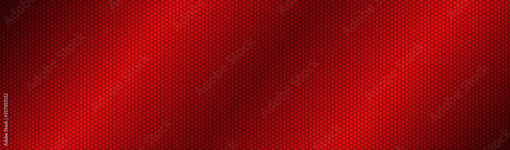 Fototapeta Abstract dark red geometric hexagonal mesh material header. Perforated metallic technology banner. Vector abstract widescreen background
