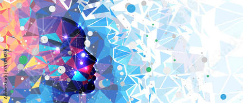 Fotografie, Tablou Conceptual technology illustration of artificial intelligence