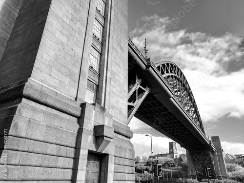Monochrome View of Tyne Bridge across Tyne River & Quayside, Newcastle upon Tyne Wallpaper Mural