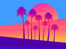 Tropical Palm Trees On A Sunse...
