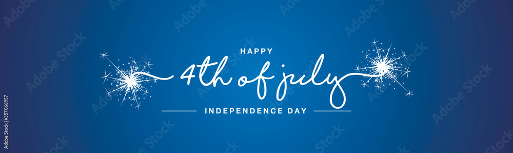 Fototapeta hAPPY 4th of july Independence day handwritten typography sparkle firework text USA blue background banner