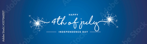 hAPPY 4th of july Independence day handwritten typography sparkle firework text USA blue background banner - 357066957