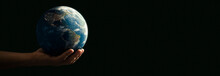 Panoramic - Man With The World With His Hands On Black Background - Elements Of This Image Furnished By NASA