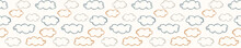 Seamless Background Cloud Banner. Gender Neutral Baby Border Pattern. Simple Whimsical Minimal Earthy 2 Tone Color. Kids Nursery Edging Or Boho Nature Star Fashion Ribbon Trim.