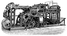 Rotary Machine For Printing Illustrations. Illustration Of The 19th Century. White Background.