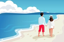 Young Couple Man And Woman Walking On The Beach Hold Hands Vector Illustration. Beach Scene On Sea Vacation Resort Summer Holidays. Maldives