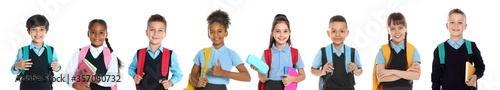 Fototapeta Children in school uniforms on white background. Banner design