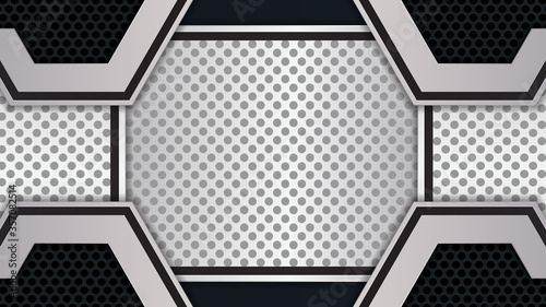 Fényképezés White and black abstract overlap background on dark geometric perforated texture