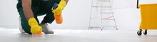 Professional Janitor Cleaning Floor With Brush And Detergent, Closeup View. Banner Design