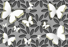 Seamless Pattern With Flowers With Butterflies