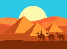 Caravan With Background Pyrami...