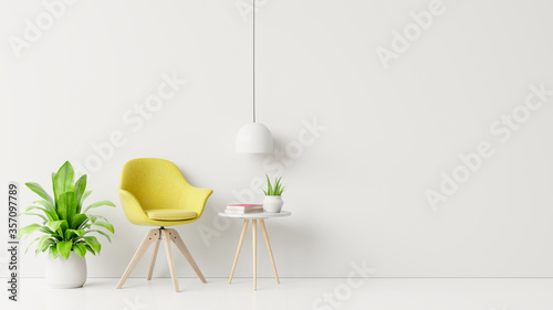 Fotografía Living room with wooden table, lamps and yellow armchair.