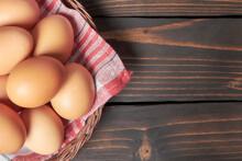 Chicken Eggs In A Wicker Baske...