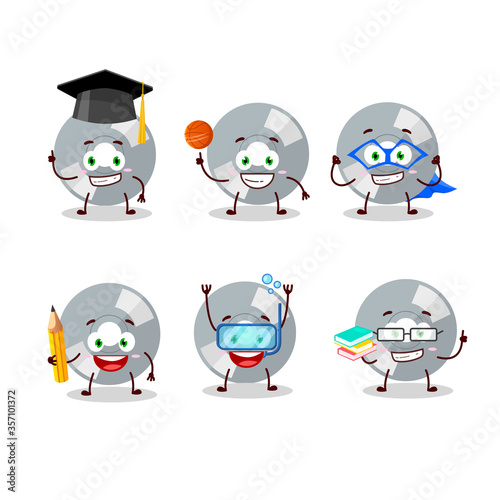 School student of compact disk cartoon character with various expressions Canvas Print