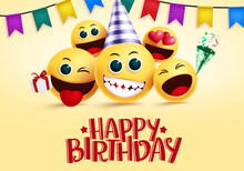 Birthday Smiley Emojis Vector ...