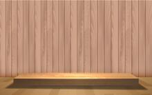 Wooden Showcase On The Wooden Floor In The Studio Room