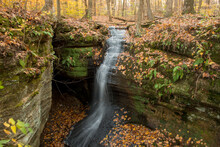 Waterfall In Fall Forest, Ledg...