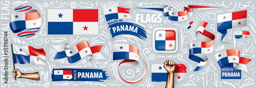 Fotografía Vector set of the national flag of Panama in various creative designs