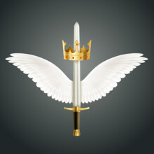 Sword Crown Wings Composition